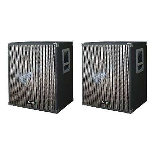 2x Ibiza Sound SUB18A 2400W Actieve Subwoofer Bass Bin Disco DJ Speaker PA