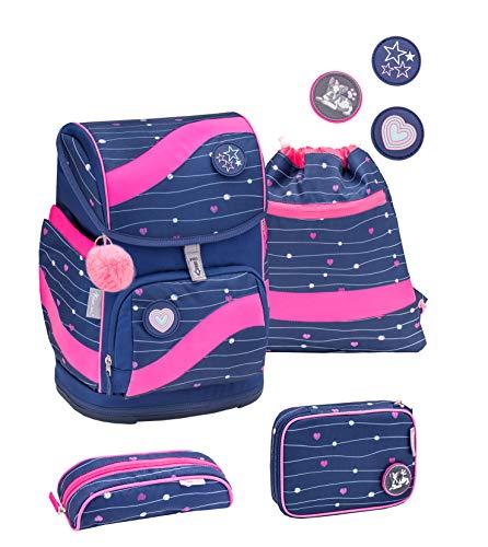 Belmil ergonomischer Schulrucksack Schulranzen Set 5 -teilig für Mädchen 1-4 Klasse Grundschule mit Patch Set/Brustgurt, Hüftgurt/Magnetverschluss/Blau, Pink (405-51 Simple Heart)
