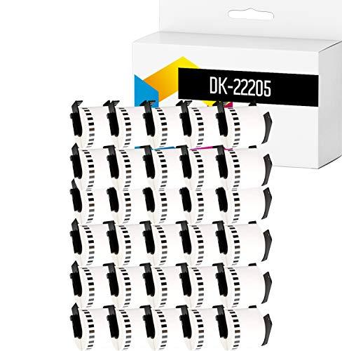 TONERPACK 30 Etiquetas Continuas DK22205, Cintas Compatibles para Impresoras Brother P-Touch QL-500 QL-570 QL-700 QL-720NW QL-800 QL-810W QL-820NWB QL-1050 QL-1100 QL-1110NWB (62mm x 30.48m) (30)