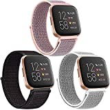 Pack 3 Nylon Loop Bands Compatible with Fitbit Versa 2, Fitbit Versa Lite, Fitbit Versa Band, Soft Adjustable Breathable Replacement Band for Women Men (Black Sand+Pink Sand+Seashell)