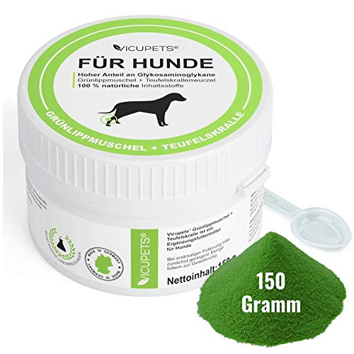 Vicupets Grünlippmuschel & Teufelskralle 150g I Glucosamin/Glukosaminol für Hunde I Teufelskralle für Hunde 100% natürliche Inhaltsstoffe I als Barf Zusatz