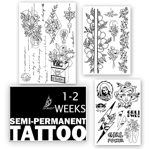 AWAKEN Tatuaggi Finti Temporanei Semi Permanente Adesivi Temporary Tattoo Impermeabile a base Vegetale dura 1-2 Settimane Pacco da 3 fogli Donna Fiore Girl Power Medusa Scritte(Pacco 6)