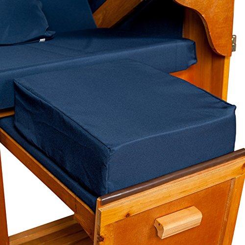 LILIMO Strandkorb Auflagekissen-Set für Fussablage, blau, 2er Set