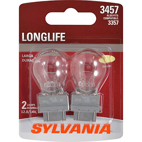 SYLVANIA - 3457 Long Life Miniature - Bulb, Ideal for Turn Signal Applications, Center High Mount Stop Light (CHMSL) and More. (Contains 2 Bulbs)