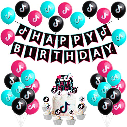 56 Pcs TIK TOK Themed Party Supplies Birthday Printing Banner Balloon Cake Topper Music Note Sign Flags Balloons Toppers Decor Themed Party Decoration Shot Video for Fans