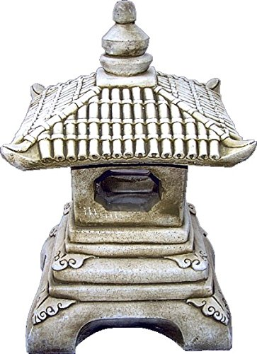 Figura Decorativa Pagoda Oriental de hormigón-Piedra para jardín o Exterior 23cm.Ocre