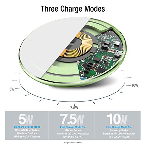 TOZO W1 Wireless Charger Thin Aviation Aluminum Computer Numerical Control Technology Fast Charging Pad Green (NO AC Adapter)