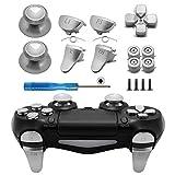 TOMSIN Metalltasten für PS4 Slim/PS4 Pro Controller, Aluminium-Metall-Thumbsticks Analoggriff & Bullet Buttons & D-Pad & L1 R1 L2 R2 Trigger für PS4 Controller Gen 2 (Metall Silber)