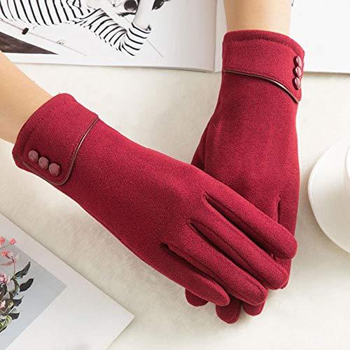Fashion Winter Gloves Women Velvet Thickening Warm Mittens Double Thick...