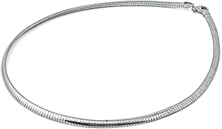 Sterling Silver Italian Omega Necklace 4mm Solid 925 Italy New Cubetto Chain