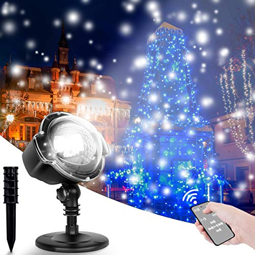 Christmas Snowflake Projector LED Lights, CroLED Rotating Snowfall Landscape Lights with Remote...
