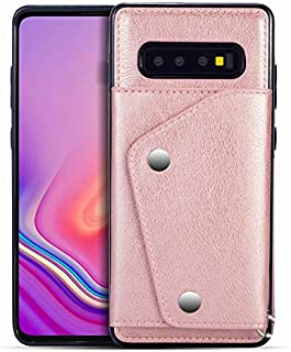 Wallet Case with Card Holder,Leather Kickstand Double Snap Fastener Durable Shockproof Protective Cover for Samsung Galaxy S10 Plus,Rose Gold