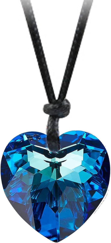 Gyn&Joy Blue Austria Crystal Heart Pendant Necklace