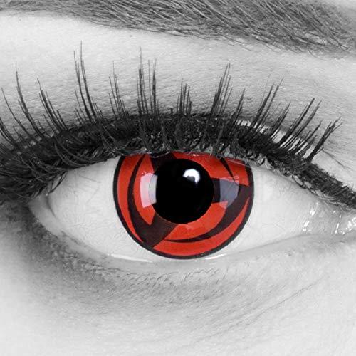 Meralens 1 Paar Farbige Anime Manga Kontaktlinsen Ohne Stärke mit gratis Kontaktlinsenbehälter - Sharingan Kakashi Naruto in rot schwarz perfekt zu Hereos of Cosplay, Halloween rote 12 Monatslinsen