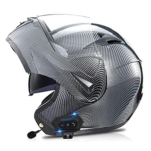 LIRONGXILY Casco Moto Modular Casco Moto Modular Casco Integral con Bluetooth Casco de Moto con Doble Visera para Hombre o Mujer ECE Homologado (Color : H, Size : 61-62(XL))