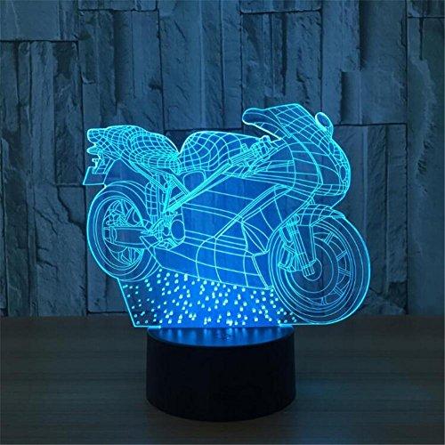 Atmko®Veilleuses 3D Nuit Lumière Visualisation Glow 7 Changement de Couleur USB Bouton Tactile Et Intelligent Télécommande Bureau Éclairage de Table Beau Cadeau Décorations de Bureau à Domicile Jouets (Moto)