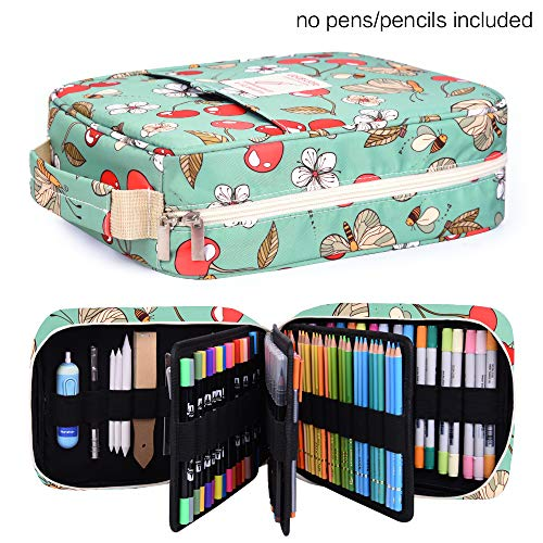 Pencil Case Holder Slot - Holds 202 Colored Pencils or 136 Gel Pens with Zipper Closure - Large Capacity Polyester Pen Organizer for Watercolor Pens or Markers - Perfect Gift for Artist Cherry