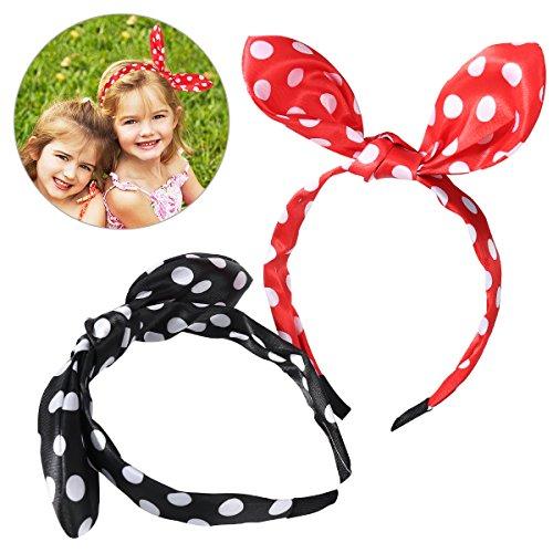 Frcolor Frcolor Lot de 2 oreilles Serre-tête Bandeau à pois pour femmes filles Lapin oreille Bandeau Bandes de cheveux (Noir et rouge)