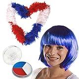 I LOVE FANCY DRESS LTD Déguisement Accessoires pour Adulte avec Cette Perruque Tricolore aux Couleurs de la France Bleu Blanc Rouge + Un boa + du Maquillage. (Lot de 4)