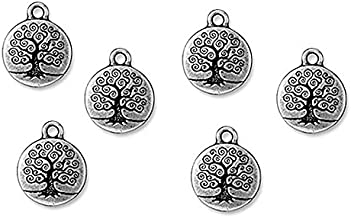TierraCast Fine Silver Plated Pewter Round Tree Of Life Charm 19mm (1)