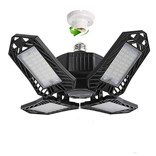 150W LED Garagenleuchte, 15000LM 6500K KaltesWeiß Einstellbar Werkstattlampe, E27 Garagenbeleuchtung mit 4 Verstellbaren Panels für Garage, Lager, Werkstatt, Keller, Turnhalle, Korridor (1 PC)