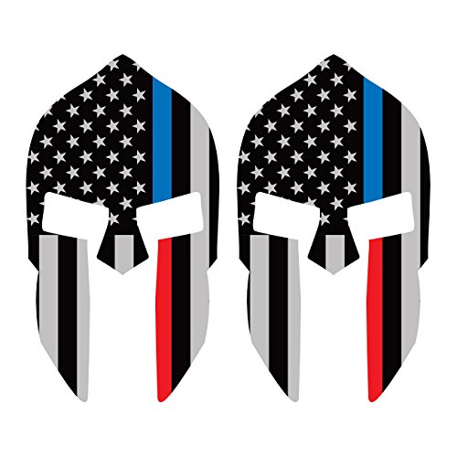 fagraphix Two Pack Red/Blue Line Subdued Spartan Helmet American FlagStickerLaw Police Fire EMT