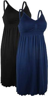 iloveSIA 2pack Women's Seamless Maternity Breastfeeding Nursing Dress with Build-in Bra