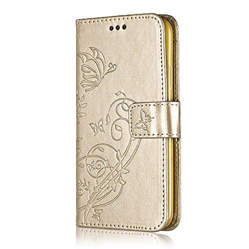 Bear Village® Brieftasche Hülle für Samsung Galaxy A3 2015, Premium Leder Flip Schutzhüllem Galaxy A3 2015 Multifunktion Klappständer Schützthülle mit kartenfächern (#2 Gold)