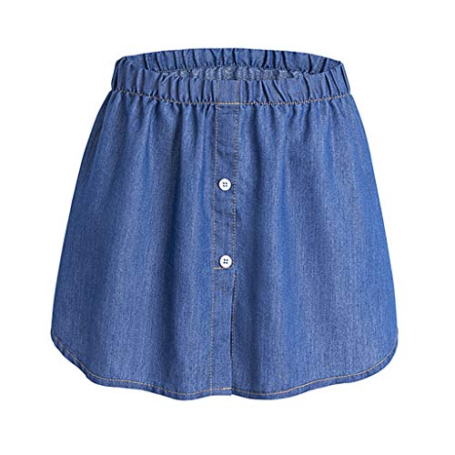 MAOSUO Saia feminina jeans com bainha falsa em camadas, parte superior falsa, meia camisa extensora atraente para uso diário