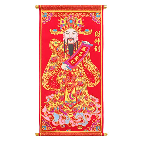 Amosfun Feng Shui God of Wealth Ornament 3D Buddha Statue God of Wealth Meaning Luck Prosperity Picture Wall Hanging Poster Chinese New Year Decor Colorful