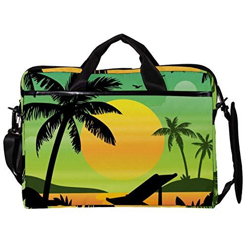 Mochila unisex para ordenador o tableta, ligera para portátil, bolsa de viaje de lona, 13.4 – 14.5 pulgadas, con hebillas, siluetas de palmera, playa, atardecer, verde y amarillo
