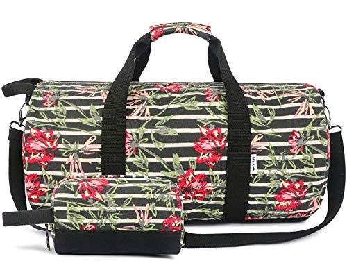 Kleine Reisetasche für Männer und Damen - Sporttasche Segeltuch Trainingstasche - Travel Duffel Bag & Sports Gym Bag (1.0 Blumen)