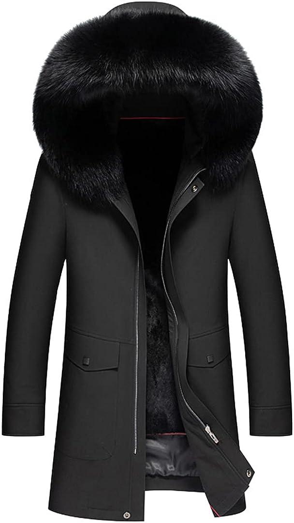 Detachable Rabbit Fur Liner Pie To Overcome Men's Mid-Length Casual Fur Coat