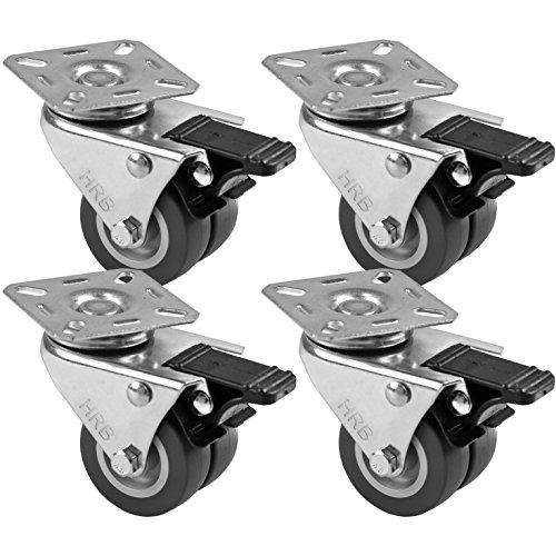4 Stück Rollen für Möbel 50 mm, Rollen mit Bremse der Marke HRB, Schwerlastrollen mit max. 320 Kg Gesamttragkraft, geeignet für z.B. Rollen für Palettenmöbel (4er Set 50mm)