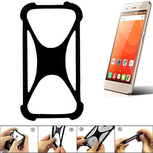 K-S-Trade® Handyhülle Für Haier Leisure L56 Schutz Hülle Silikon Bumper Cover Case Silikoncase TPU Softcase Schutzhülle Smartphone Stoßschutz, Schwarz (1x),