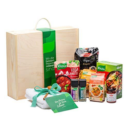 Geschenk-Box für Frauen und Männer von Knorr, Geschenk-Set in wiederverwendbarer Holzbox - ideal zur Einweihung oder als Geschenkidee (10 Produkte)