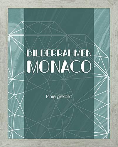 Homedeco-24 Monaco MDF Bilderrahmen ohne Rundungen 40 x 50 cm Größe wählbar 50 x 40 cm Pinie gekälkt mit Acrylglas klar 1 mm