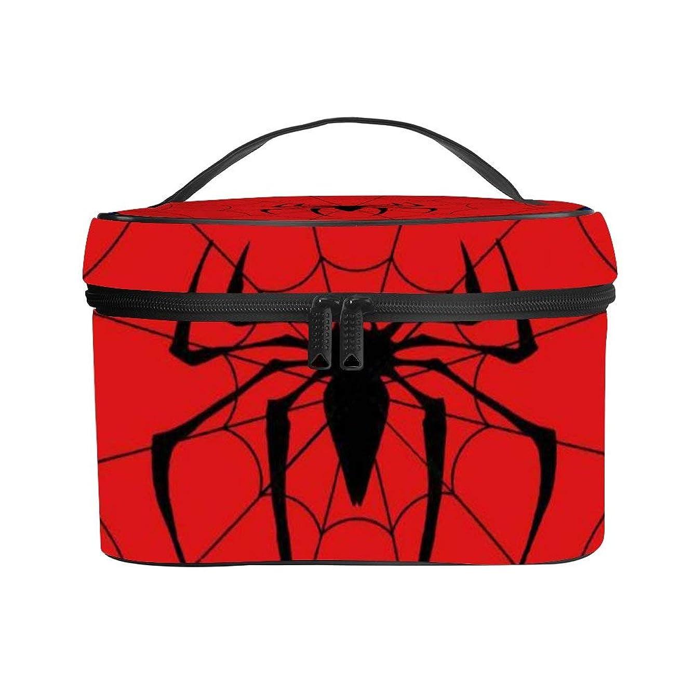 期間エレガント論文メイクぼっくす PUレザー コスメボックス バニティポーチ レッド スパイダー 化粧ボックス メイクブラシバッグ トラベルバッグ 人気 かわいい 大容量 機能的