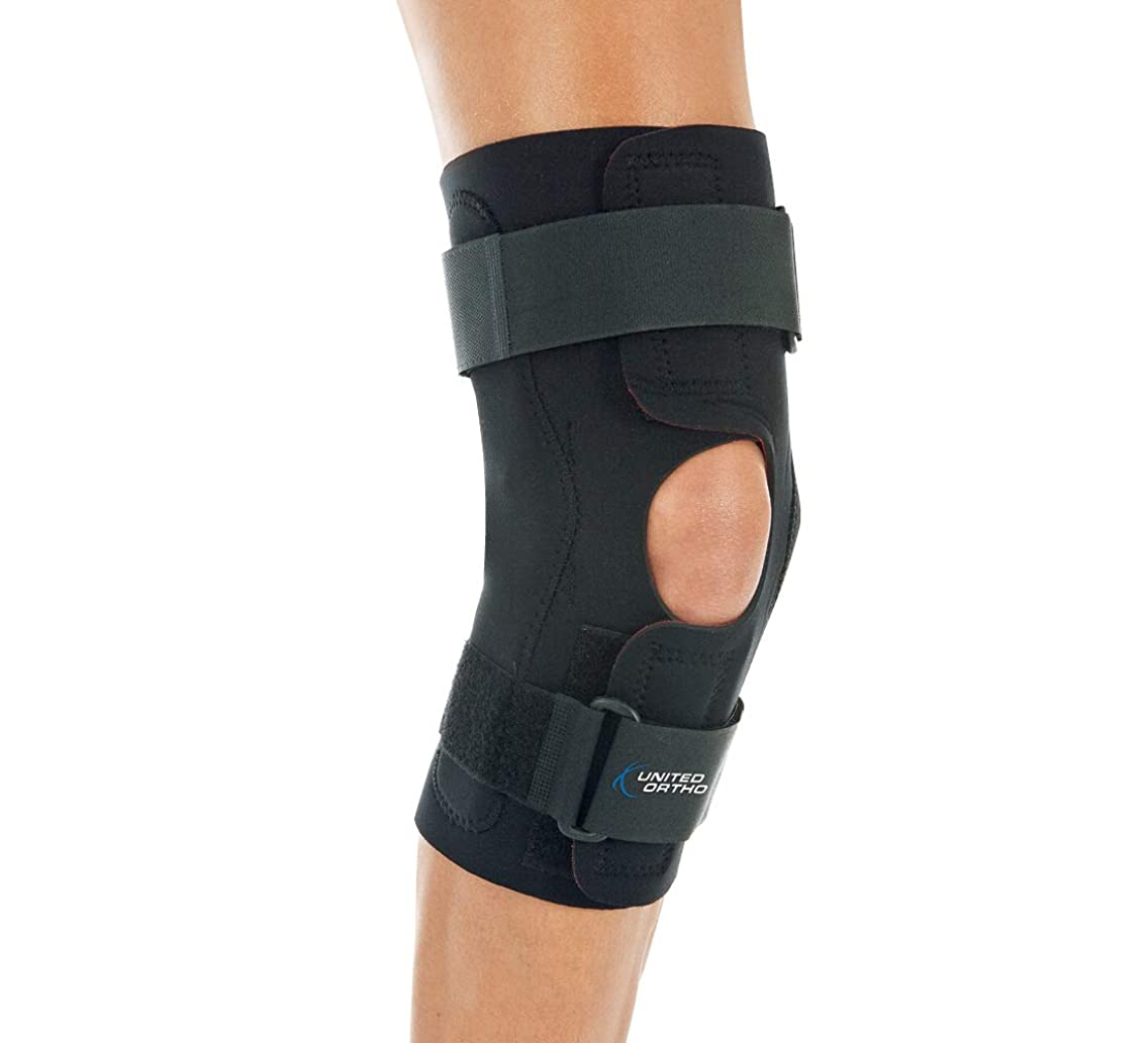 United Ortho Wraparound Hinged Knee Brace, XXXXL, Black