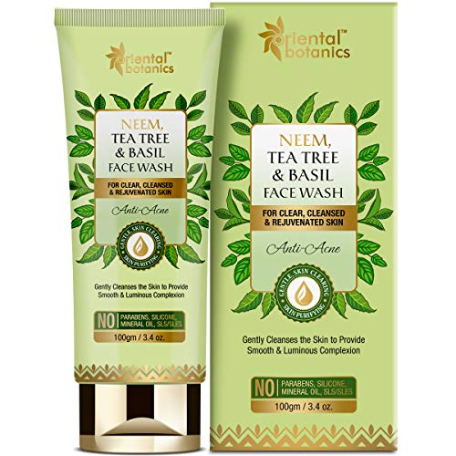 Oriental Botanics Neem, Tea Tree and Basil Anti Acne Face Wash – For Clear and Rejuvenated Skin – No Parabens, Silicones, 100 ml