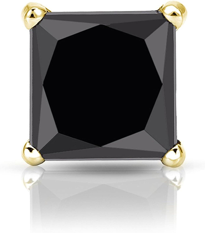 18k Gold 4-Prong Martini Princess STUD SINGLE Black Ranking Directly managed store TOP2 Men Diamond