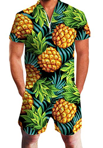 AIDEAONE Male Hawaiian Shirt Set Fashion Short Pineapple Romper Party Beach Jumpsuit Overalls Cloth Pants Boyfriend XXL