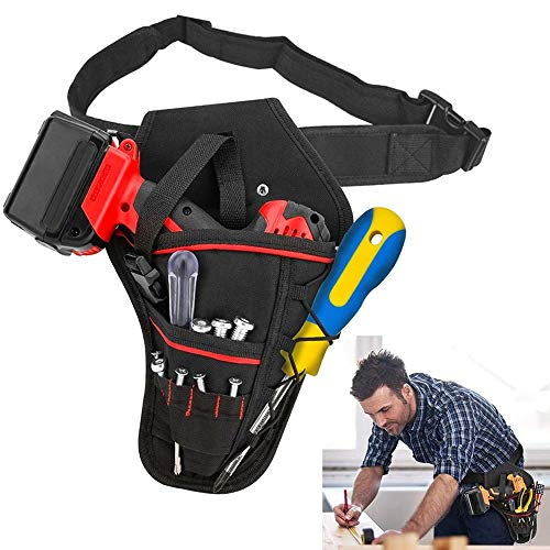 Electrician Drill Holder Belt Waist Bags Heavy-Duty Drill Holster Tool Belts Storage Bag Hanging Pouch for Wrench Hammer Screwdriver Most T Handle Drills