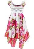 GILLSONZ Neu604vDa Mädchen Kinder Sommer Freizeit Kleid (134/140, Weiß(604))