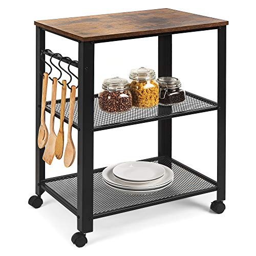 Best Choice Products 3-Tier Rustic Industrial Rolling Utility Serving Cart Organizer for Kitchen, Living Room Accent Furniture w/ 2 Metal Storage Shelves, 4 Hooks, Wood Finish Top, Wheel Locks