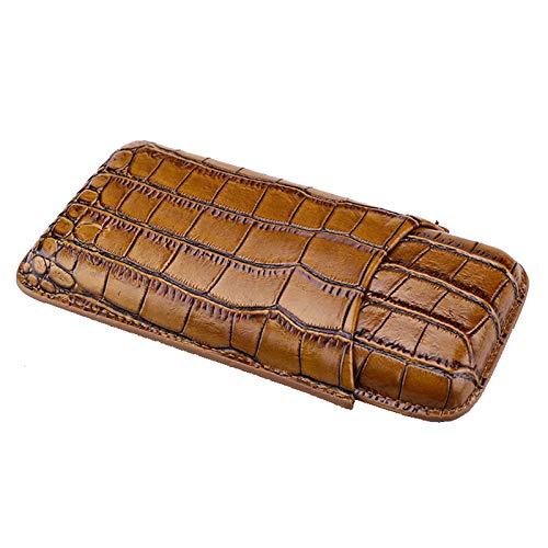 Zigarren Humidor Zigarrenschachtel Leder Zigarrenschlauch, Reise Tragbare Hochwertige Leder-Zigarren-Humidor mit Zigarrenschere, Herren-Geschenkbox Zigarettenetui, Kann 3 Zigarren Halten Tragbare Reis