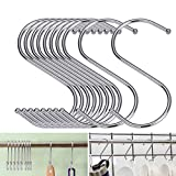 40 Pack S Shaped Hooks, EAONE Heavy Duty Stainless Steel S Hooks Rack Hangers for Hanging Kitchenware Pan Pots Utensils Clothes Bags Towels Plants, Silver
