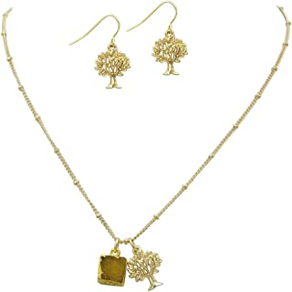 Rosemarie Collections Women's Druzy Stone and Tree of Life Pendant Necklace and Earring Set