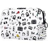 TIKISMILE Punk Rock and roll doodles bolsa de maquillaje grande bolsa de aseo de viaje bolsa de cosméticos portátil de maquillaje para mujeres y niñas