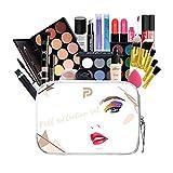 KUNMEI Juego De Regalo De Maquillaje, Kit De Maquillaje Profesional Todo En Uno De 25 Piezas, Juego De Maquillaje De Viaje Portátil con Una Bolsa De Cosméticos